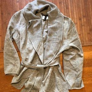 BCBG Max Azria medium tie cardigan sweater gray